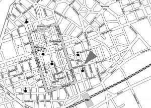 Innenstadtplan Krefeld mit Reisebüro Krefelder Reisen